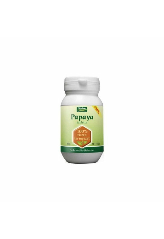 Zöldvér papaya tabletta 100% 60+18db 78 db